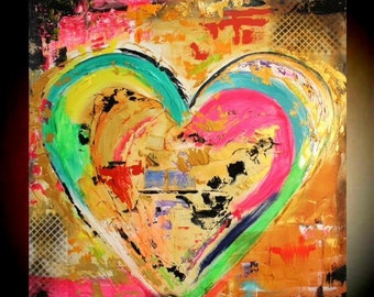 "Original 36""gallery canvas Abstract HEART painting,Original comtemporary Art,lots of texture Ready to hang  by Nicolette Vaughan Horner"
