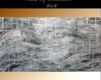 XLarge Abstract painting,Original comtemporary Art,Shades Of Gray,lots of texture Ready to hang  by Nicolette Vaughan Horner 48x24