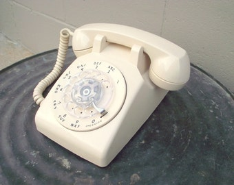 Almond Rotary Dial Telephone Phone - Bell System Western Electric - Retro Collectible Works Great - American Retro