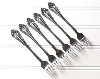 Cocktail Forks - Vintage Flatware Set - Silver Cutlery Set - National Dynasty