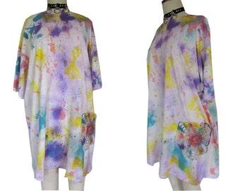 Tie Dye Baggy Crochet Oversized Smock Pastel Splatter Dress
