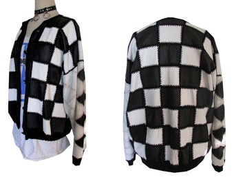 Black White Mod Leather Patchwork Checkerboard Baggy Loose Bomber Jacket