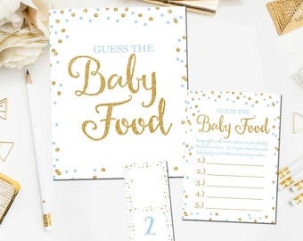 Baby Shower Guess The Baby Food Game, Printable Baby Shower Games, Guess The Baby Food Game, Blue Gold Boy Shower, Instant Download  BB8