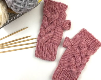 Womens Gloves, Knitted Gloves, Womens Fingerless Gloves, Gifts for Her, Cable Knit Fingerless Gloves, Wool, Bubble Gum Pink || One Short Day