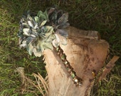 Camo Bridal Bouquet Brown and Green Dahlia Camoflauge Bouquet