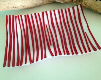 Red and White  Stripey Glass Wave Platter