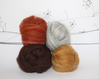 Wooly Batts pelt shades for felting, top coat for animals, needle felting wool, golden retriever, fox, blended fur fiber, hand dyed roving