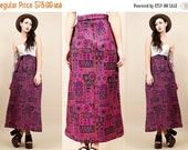 15% OFF 1DAY SALE 70s vtg Kilim Tapestry Purple Ethnic Print Maxi Skirt / Long Boho Hippie Tie High Waist / Size Small - Medium