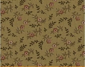 CHAMBERLAIN CIVIL WAR, pink flowers on dark tan shirting cotton print by the half yard  Windham Cotton Fabric 41266-5