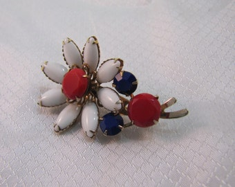 1950's Red, White and Blue Patriotic Milk Glass Flower Brooch