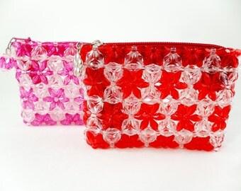 Flower Wallet, Floral Wallet, Beaded Wallet, Bead Wallet, Beadwork Wallet, Beaded Coin Purse, Floral Coin Purse, Pink Coin Purse, Flower