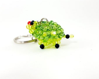 Bead Turtle Keychain, Beaded Turtle, Beaded Tortoise, Bead Tortoise, Turtle Keychain, Mini Keychain Turtle, Red Nosed Turtle, Red Nose
