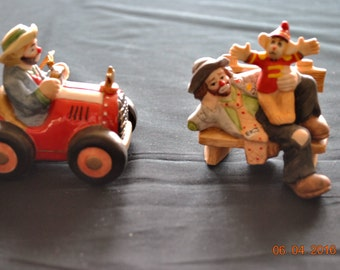 Flambro Porcelain Emmett Kelly Collectible Figurines One you can Hang