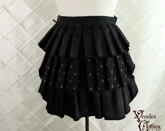 "Ruffle Bustle Overskirt - 3 Layer, Sz. XS - Black Pinstripes & Diamonds - Best Fits up to 34"" Waist/Upper Hip -- Ready to Ship"