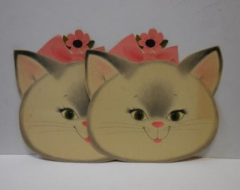 Two vintage Kitty Cat Kitten faces Wall paper decor large cut out White cat Green Eyes Pink bow Girls room decor Supplies Nursery