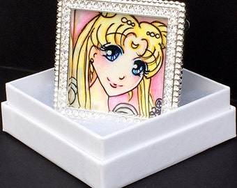 Sailor Moon Princess Serenity Original Framed Illustration with Gift Box, Small Art 1.8125 in x 1.8125 in, Anime Manga Style Fanart, OOAK