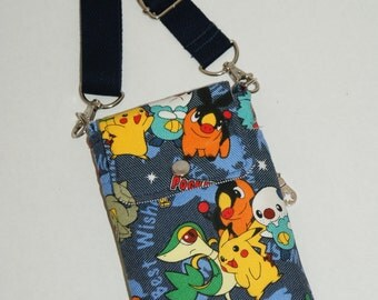 """2 Way Cell Phone Cross Body Bag / Hook Bag with 2 Exterior Pockets Made with Japanese TC Denim Fabric """"Pokemon - Best Wishes"""""""