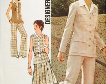 "Simplicity 6236 Misses' Unlined Cardigan, Top, Skirt and Pants Pattern, UNCUT, Size 16, Bust 38"", Vintage 1974, Designer Fashion, Sleeveless"
