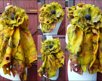 nuno felted scarf, flower brooch, silk, felted wool, scarves, wrap, handmade, gold coloured, European Lagenlook Style, MADE TO ORDER