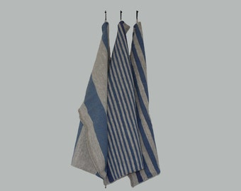 Blue Collection Huckaback BasketWeave 100% Linen Flax Towel Rustic Country Dishcloth Kitchen Food Cover Heavy Hand towel Wide strips