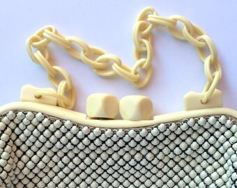 Whiting and Davis Enamel Mesh and Celluloid Purse