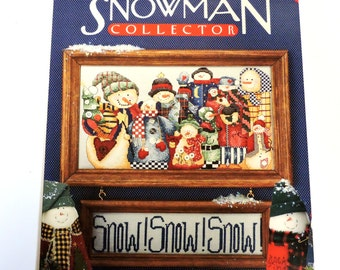 Snowman Collector, Vintage Alma Lynne Designs Cross-Stitch Pattern Leaflet, Snowmen Gathering Winter Holiday Home Decor itsyourcountry