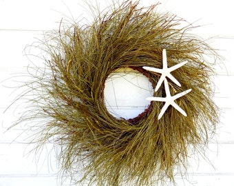 Grassy Twig Coastal Wreath-Beach Wreath-Beach Decor-Coastal Home Decor-Housewarming Gift-Rustic Twig Wreath-Year Round Wreath-Seaside Gifts