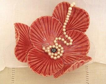 Pottery Flower Bowl, Red Poppy, Handbuilt Porcelain, Ring Dish, Home Decor, Wedding Favor, Jewelry Tray, Black Stamens, Shell Texture