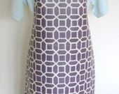 Adult Matt Oilcloth Apron - White Geometrics on a Purple Background, PVC Apron, Waterproof Apron, Protective Apron