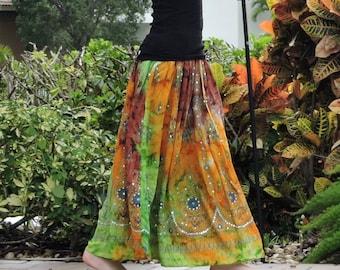 Gypsy Skirt, Tie Dye Skirt, Maxi Skirt, Bohemian Skirt, Festival Clothing, Fall Skirt, Sequin Skirt, Indian Skirt, Boho Clothing, Long Skirt