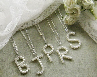 SET of 7 Pearl alphabet charm necklace, bridal, bridesmaids necklace, wedding jewelry - W052