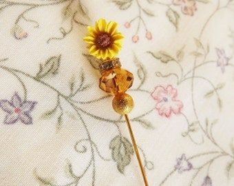 Hijab pin, Hat pin, Stick pin, Vintage, Sunflower, Yellow, Brooch, Eid Gift