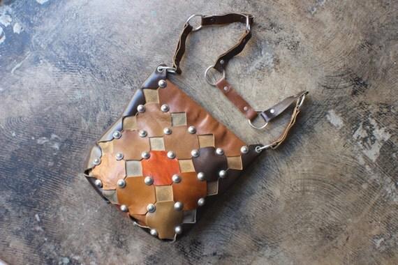 1970's Rivet PURSE / Patchwork Leather Handbag / Vintage Bohemian Bag