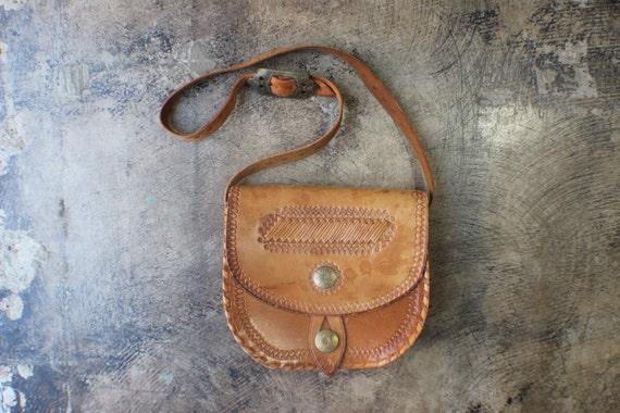 Tooled Leather PURSE / Light Brown Leather Medallion Handbag / Festival Crossbody Bag