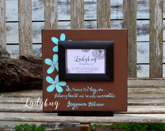 "So, there is this boy who stole my heart and he calls me auntie. Picture frame 12""x12"". Customize your own frame by Ladybug Design by Eu"