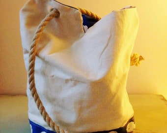Canvas Blue and White Polka Dot Spot Nautical Tote Bag Yacht Line Handle