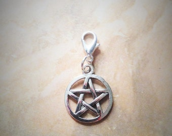 Silver Pewter Pentagram Charm Lobster Claw Clasp TCJG