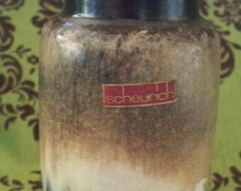 ON SALE Scheurich Pottery Vase German Pottery 231-15 Drip Glaze Browns Original Label
