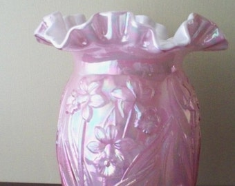 ON SALE Vintage Fenton Glass Daffodil Vase Pink Iridescent Ruffled Double Crimped Top (MINT)