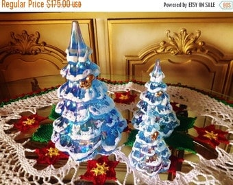ON SALE FENTON Glass Christmas Tree Trio 3 Iridescent Blue Ice Frosted Squirrel Ornament 18K Gold Plated Winter Holiday Decor Collectible Gl