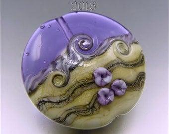 SEASCAPE LENTIL - LILAC – Lampwork Pendant Bead  Focal Handmade Jewelry Supplies - by Stephanie Gough sra fhfteam leteam