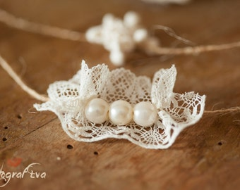 Headband Pearls and Lace
