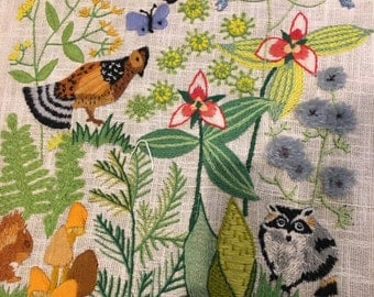 LARGE  crewel embroidery animals and birds in flowers