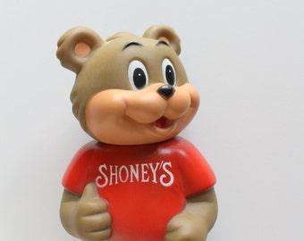 Vintage Shoney's Bear Plastic Bank 1993