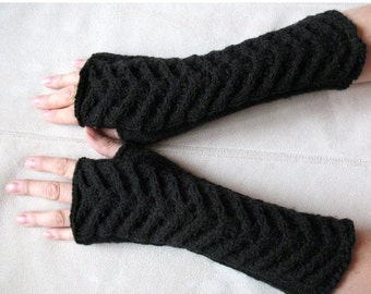 "Fingerless Gloves Mittens black 11"" Arm Warmers, Acrylic"