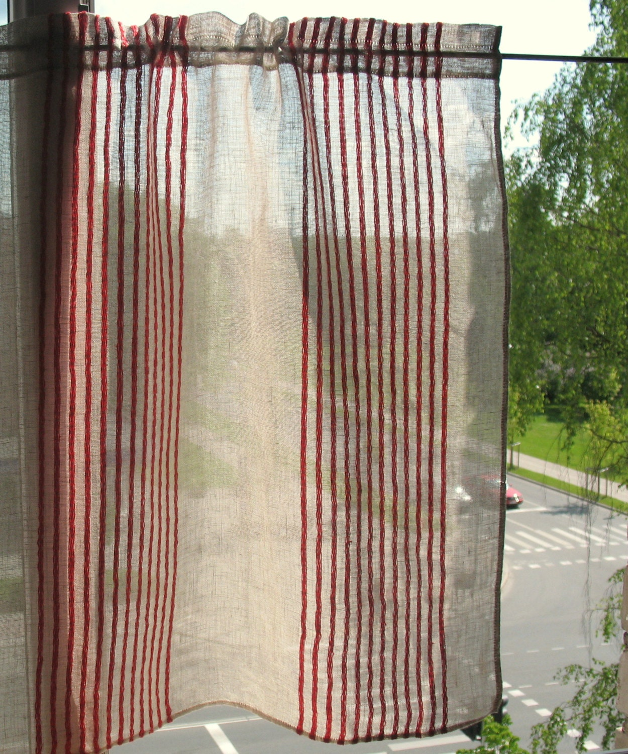 Red And Gray Kitchen Curtains: Curtain Lace Curtains Cafe Curtains Red Natural Gray Striped
