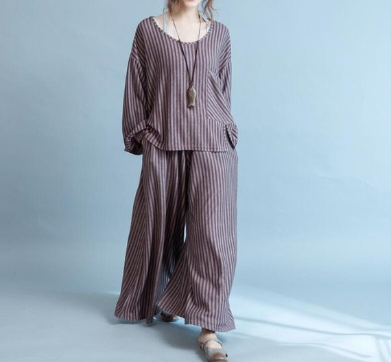 Women Autumn large size  loose blouse and Loose pants