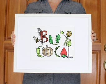 Buy Local Art Print  - Farmers Market - Wall Art