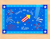 Kids Fourth of July Personalized Placemat, Kids Patriotic Placemat, Laminated Mealtime Placemat, Kids Holiday Placemat