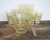 Vintage Bar Glass Set Polka Dot Yellow 22 Piece Set Drinkware Ice Bucket and Stirrers